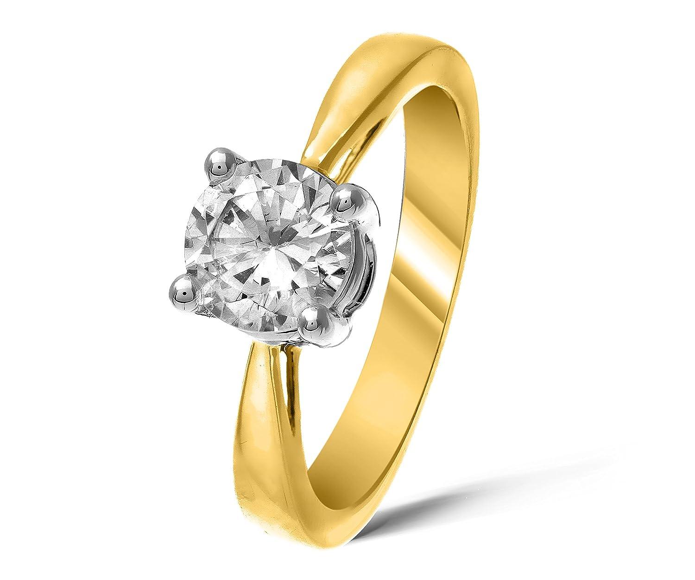 Funkelndes Feuer Wunderschöner 9 Karat (375) Gold Solitär Verlobung Damen – Ring mit Zirkonia 1.00 Karat günstig bestellen