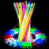 Glow Sticks and LED Finger Lights – 140pk Bulk Party Favors and Rave Glow in The Dark Party Supplies, Accessories for Halloween, Camping or Birthdays