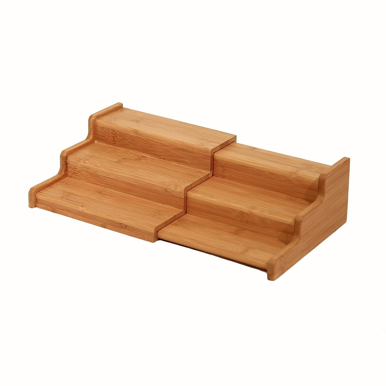 seville classics 3 tier expandable bamboo spice rack step. Black Bedroom Furniture Sets. Home Design Ideas