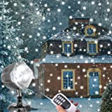 Snowfall LED Lights, AOLOX Christmas Snowflake Rotating Projectors Lights Remote Control Waterproof Outdoor Landscape Decorative Lighting for Patio,Garden,Halloween,Christmas,Holiday,Wedding,Party (Color: White)