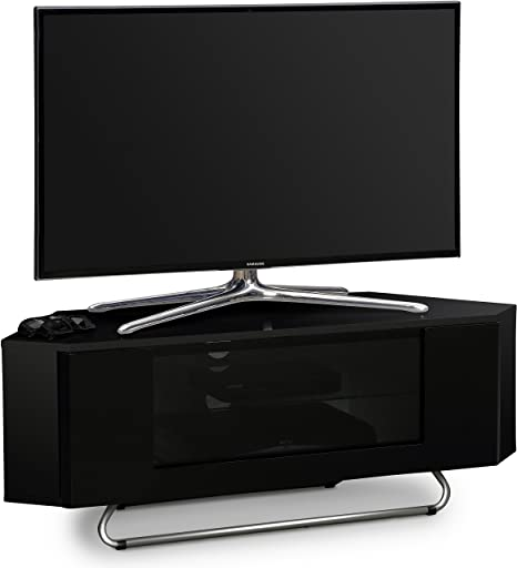 "Centurion Supports Hampshire Esquina-Amistoso Negro brillante con el contraste Negro Beam-Thru Control remoto Amistoso Puerta 26 ""-50"" Piano pantalla de la TV Gabinete"