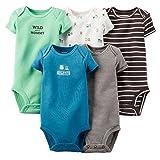 Carter's Baby Boys' 5 Pack Bodysuits (Baby) - Dark Assorted 3M (Color: Dark Assorted, Tamaño: 3 Months)