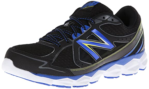 New Balance Men's M750 Running Shoe,Black/Blue,10.5 D US