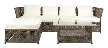Rattan4Life 4-teilig Florenz Deluxe Polyrattan Gartenmöbel Set, Sofa / Lounge / Gartengarnitur / Kissenbezug, braun / mix / beige