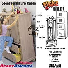 Quakehold! 2930 4-Inch Steel Furniture Cable