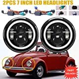 LED Headlights with Turn Signal Halo Ring Lights For Volkswagen VW Beetle Classic, 7 Inch Round Sealed Beam H5024 H6017 H6024 Conversion Kit High Beam/Low Beam/DRL Lamps Bright White H4 H13 (Tamaño: 7inch 75W-a)