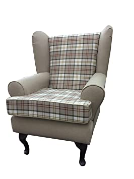 Biscuit 2 Tone Tartan Fabric Queen Anne Design...wing back fireside high back chair. Ideal bedroom or living room furniture
