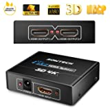 [Upgrade Version] SOWTECH 4K HDMI Splitter HDCP V1.4 Powered HDMI Splitter 1X2 HDMI Splitter for Full HD 1080P Support 4K/2K and 3D Resolution (One Input to Two Outputs) (Color: Black, Tamaño: 1X2 HD 4K 30HZ)