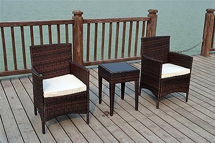 Bistro 2sedie Sedie Set di mobili da giardino in rattan intrecciato