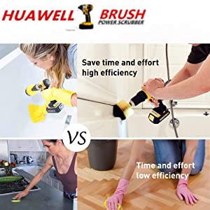 HUAWELL 7 Piece Drill Scrub Kit Grout Brush Drill Brush Set with 6 Inch Extender Scrub Brush for Grout Floor Tub Shower Tile Corners Bathroom Surface Kitchen