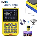 Satellite Finder V8 Finder, Free Sat Digital FTA Signal Meter DVB-S2 Receiver MPEG-4 HD 1080P Free to Air Dish Adjusting Tool 3.5 Inch LCD Screen Display