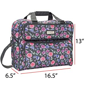 Everything Mary Deluxe Floral Sewing Machine Carrying Storage Case - Sewing Machine Tote Fits Most Standard Size Brother and Singer Machines - Portable Sewing Case with Shoulder Strap for Travel (Color: Grey Floral)
