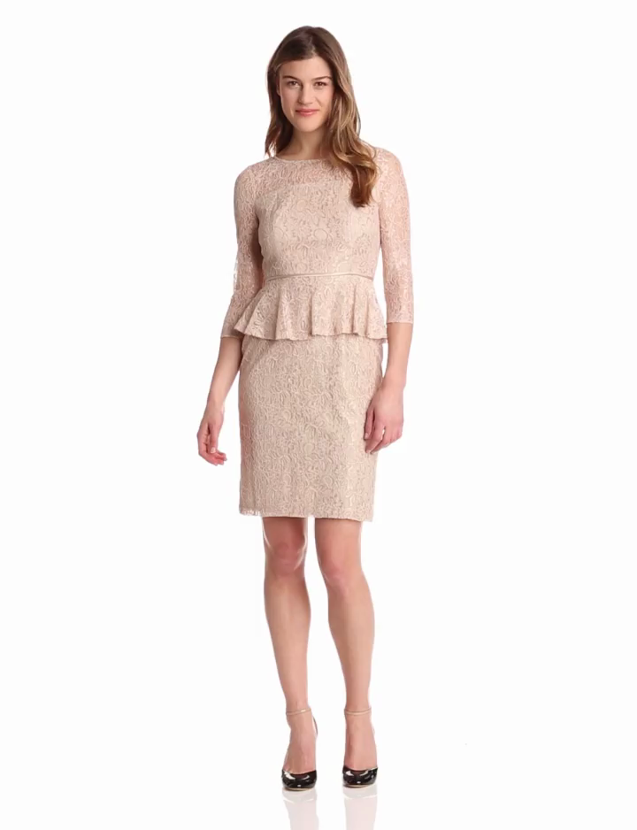 Adrianna Papell Women's Lace Peplum Dress