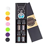 Faurora Essential Oil Necklace Gift Set, Tree of Life Aromatherapy Diffuser Necklace with 4 Aroma Oils (Lavender, Lemongrass, Peppermint and Sweet Orange) 27.6'' Chain (Color: silvery)