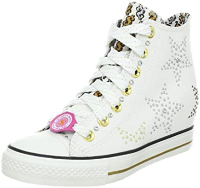Skechers Women's Gimme Sneakers - white shoes with bedazzled silver and gold studded stars pattern
