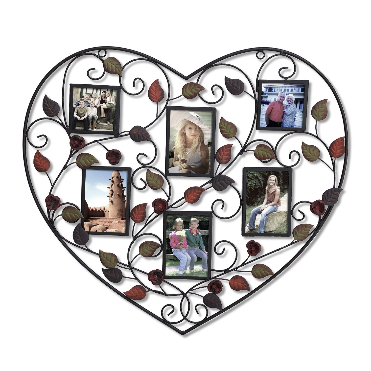 Adeco Decorative Bronze-Color Heart Shape Wall Hanging Collage Picture Photo Frame, 6 Openings, 4x4, 4x6 50pcs lot wire hanger fastener hanging photo picture frame quick easy clutch release nickel plate movable head ceiling