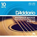 D'Addario EJ16 Phosphor Bronze Acoustic Guitar Strings, Light (10 Pack) - Corrosion-Resistant Phosphor Bronze, Offers a Warm, Bright and Well-Balanced Acoustic Tone and Comfortable Playability (Tamaño: 10-Pack)