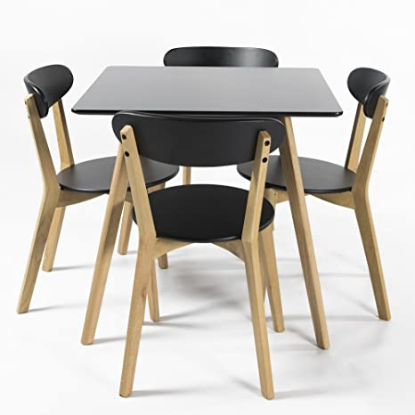 Charles Jacobs Solid Oak Leg Square Dining / Kitchen Black Table with Set Of 4 Oak Wood Leg Modern Black Chairs