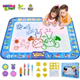 GTurtle Water Drawing Mat Doodle Mat Educational Learning Birthday Toddler Toys Gifts Painting Writing Magic Water Drawing Mat Toys for 2 3 4 5 6 Year Old Girls Boys Large Size 37.7X 29.1 in (Color: Blue)
