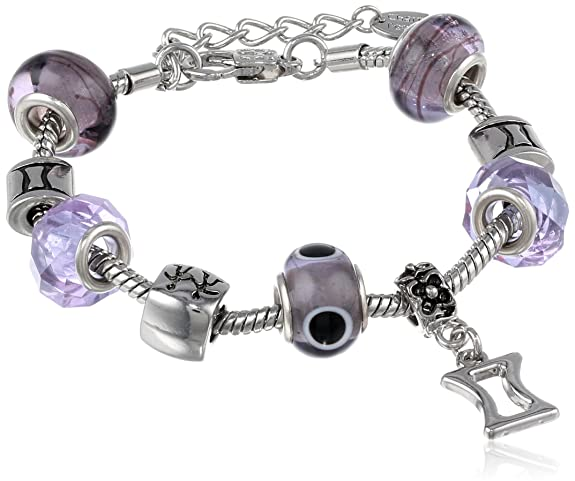 Gemini Murano Style Glass Beads and Charm Bracelet