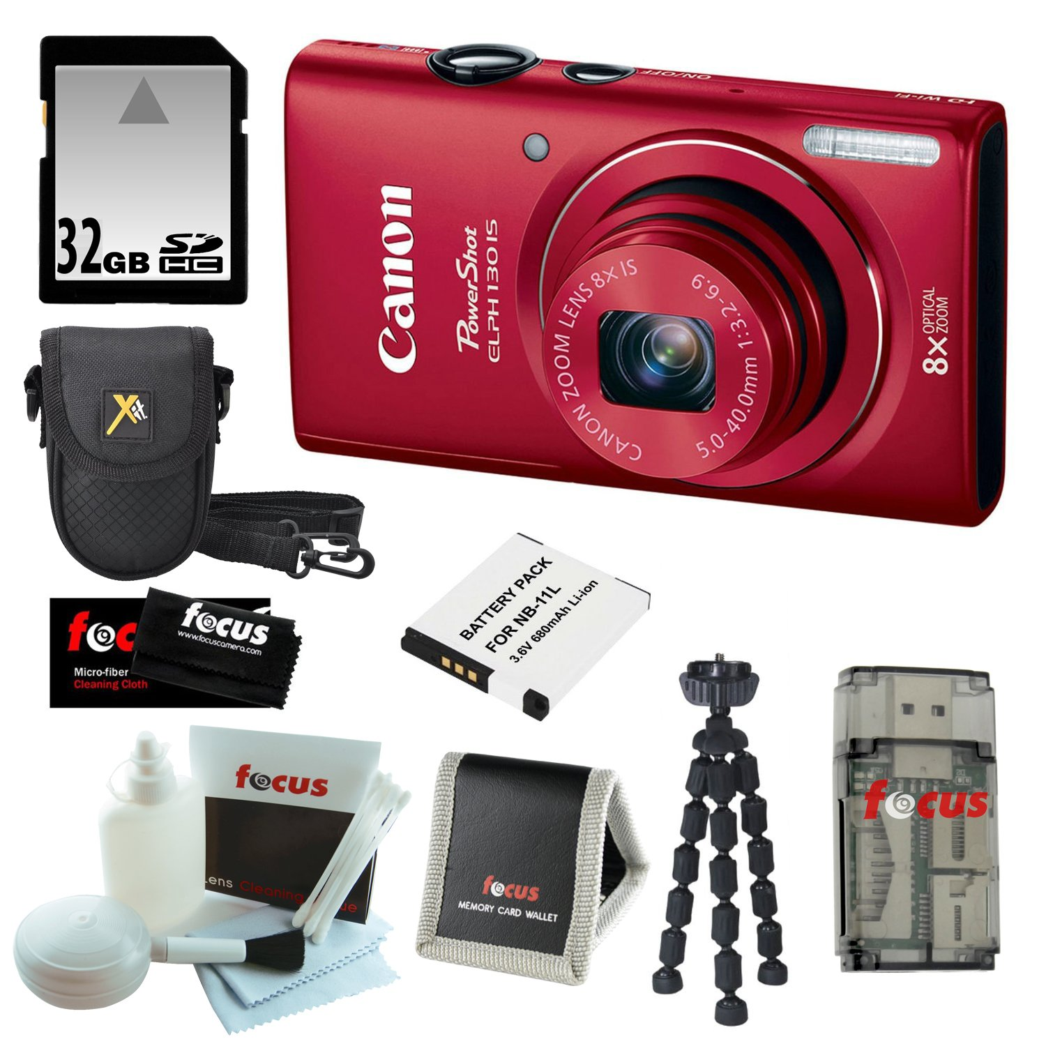 Canon PowerShot ELPH 130 IS 16.0MP Wi-Fi Digital Camera - Red + 32GB Memory Card + Accessories at Sears.com