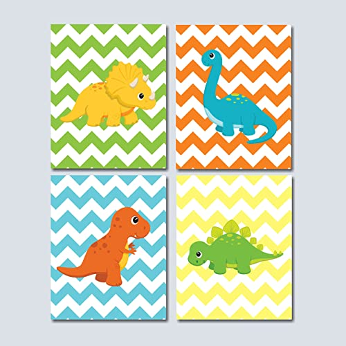 Dinosaur Nursery Wall Art Dinosaur Wall Art Dinosaur Kids Wall Art Dinosaur Nursery DecorDinosaur Room Decor-UNFRAMED Set of 4