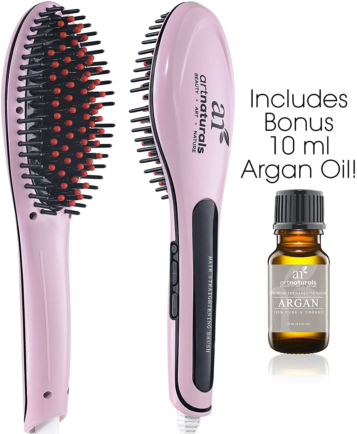 Art Naturals Hair Straightener Brush With Bonus Argan Oil 10ml - Best Ceramic, Anti Static, Electric Heating Detangling Hair Brush (2016 Edition)I