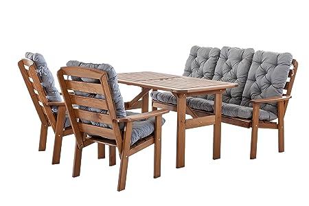 Ambientehome 90397 9 teilig Garten Sitzgruppe Essgruppe Loungegruppe Gartenmöbel Essgarnitur Hanko Maxi mit Kissen, braun / grau