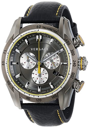 "Versace Men's VDB020014 ""V-Ray "" Stainless Steel Watch with Black Genuine Leather Band"