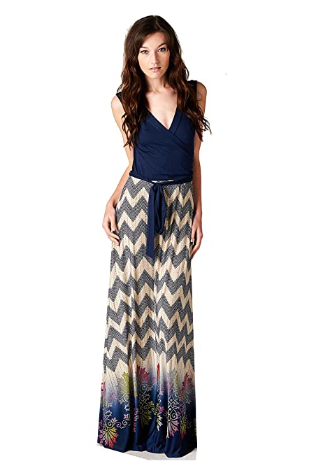 On Trend Claire Chevron Bohemian Dotted Print Sleeveless Long Maxi Dress (Medium, Chevron)