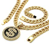 Mens Gold Plated Large Round Money ($) Sign Iced Out Pendant with 30