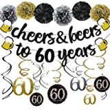 60th Birthday Party Decorations Kit Cheers & Beers to 60 Years Banner 6 Pom Poms 12-Pack Sparkling 60 Hanging Swirl for 60th Anniversary Decorations 60 Years Old Party Supplies (Color: 60 Birthday Decorations, Tamaño:  Large )