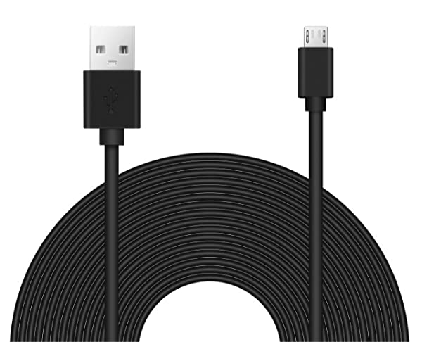 25ft Power Extension Cable for Wyze, Blink, Nintendo Switch, PS4 Xbox Controller, Echo Dot, and Home Security Camera (Color: Black)