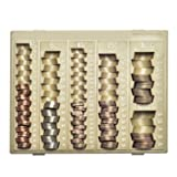 Nadex Coin Handling Tray | Bank Teller and Change Counter Coin Counting and Sorting Tray with 6 Compartments for U.S. Coins with Cover - 32 Coin Wrappers Included (Beige) (Color: Beige, Tamaño: Coin Tray)