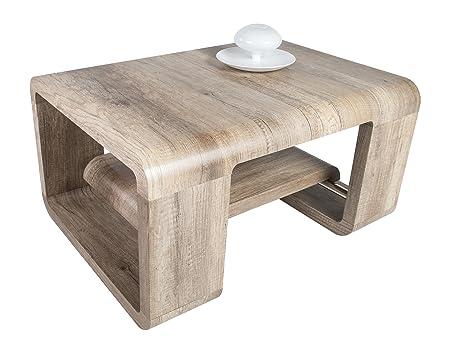 HL Design, Tavolino da salotto Mandy con ripiano allungabile e angoli arrotondati, spessore del materiale: 40 mm, Marrone (Natur)