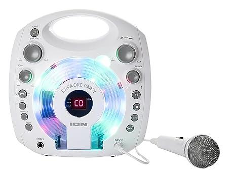 ION Audio Karaoke Party White   Lecteur Karaoké Portable avec Effets Lumineux et Micro Blanc Inclus - Blanc