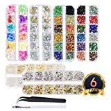 editTime 6 Boxes Shiny Colorful Nail Art Rhinestones Stone Silver & Gold 3D Metal Nail Studs Kit Nail Art Decorations with a Curved Tweezer and a Nail Brush