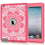 iPad 2 Case, iPad 3 Case, iPad 4 Case, Hocase Shockproof Silicone Rubber Bumper+Hard Shell Full-Body Protective Case for Apple iPad 2nd/3rd/4th Generation w/ Retina Display - Pink Flower / Grey (Color: Pink Floral Pink / Grey)