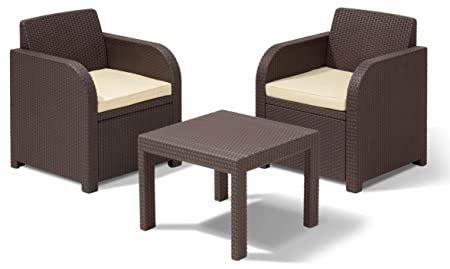 Allibert 201401 Lounge Set Atlanta Balcony Set, Rattanoptik, Kunststoff, braun