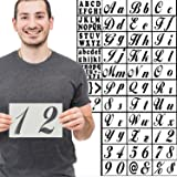 40 Extra Large Stencils Set Alphabet Letters Numbers for Art and Craft DIY Writing, Signage, Bistro, Drawing, Decorate Fabric Wood Rock Glass Ceramic Porcelain -Reusable Stencil 5x8 inch