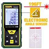 Laser Measure, 196Ft M/In/Ft/Ft+in TECCPO Mute Laser Distance Meter with Electronic Angle Sensor, Backlit LCD and Pythagorean Mode, Measure Distance, Area and Volume, Carry Pouch and Battery Included (Color: Green-Black, Tamaño: 196ft)