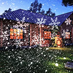 Led Christmas Light Projector - Newest Version Bright Led Landscape Spotlight with 16 Slides Dynamic Lighting Landscape Led Projector Light Show for Halloween, Party, Holiday Decoration (Color: Black)
