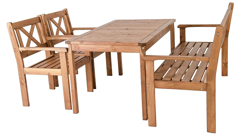 Ambientehome Garten Sitzgruppe Essgruppe Massivholz EVJE, braun, 4-teiliges Set jetzt kaufen