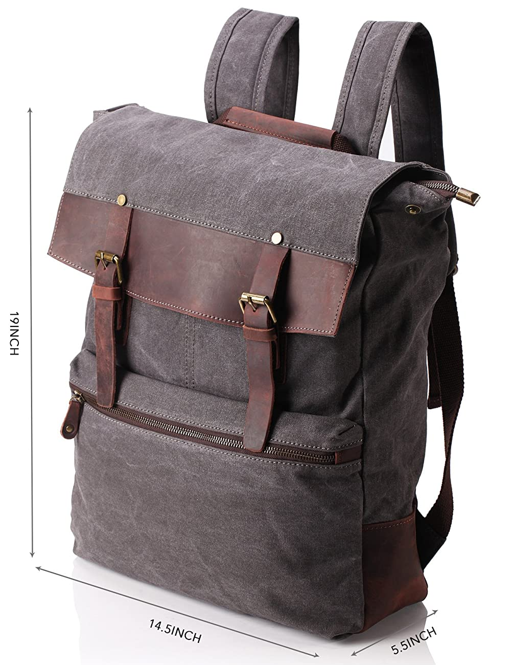 ZEKAR Vintage Waxed Canvas Leather Backpack, Multipurpose Daypacks 1