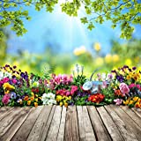 SJOLOON 10X10FT Spring Backdrop for Photography Flowers Wood Floor Photo Background for Kids Children Studio Props 11452 (Color: 11452 10X10FT, Tamaño: 10x10FT)