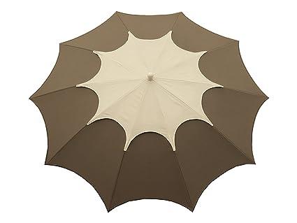 Maffei Art 35Flo '. Sombrilla de diseño, redondo, diámetro cm. 250con chimenea. brevete Maffei. Fabricado en Italia. coluleur Topo/chimenea blanco