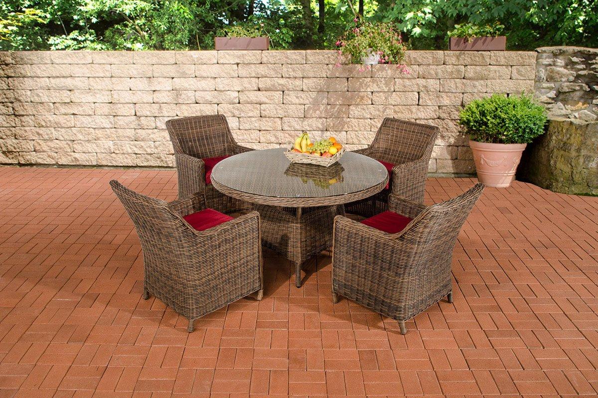 CLP Polyrattan Sitzgruppe BOVINO braun-meliert, rundes 5 mm Rattan, Aluminium Gestell (4 x Sessel Sandnes + runder Tisch Ø 130 cm + 10 cm dicke Sitzkissen) braun-meliert, Bezugfarbe rubinrot
