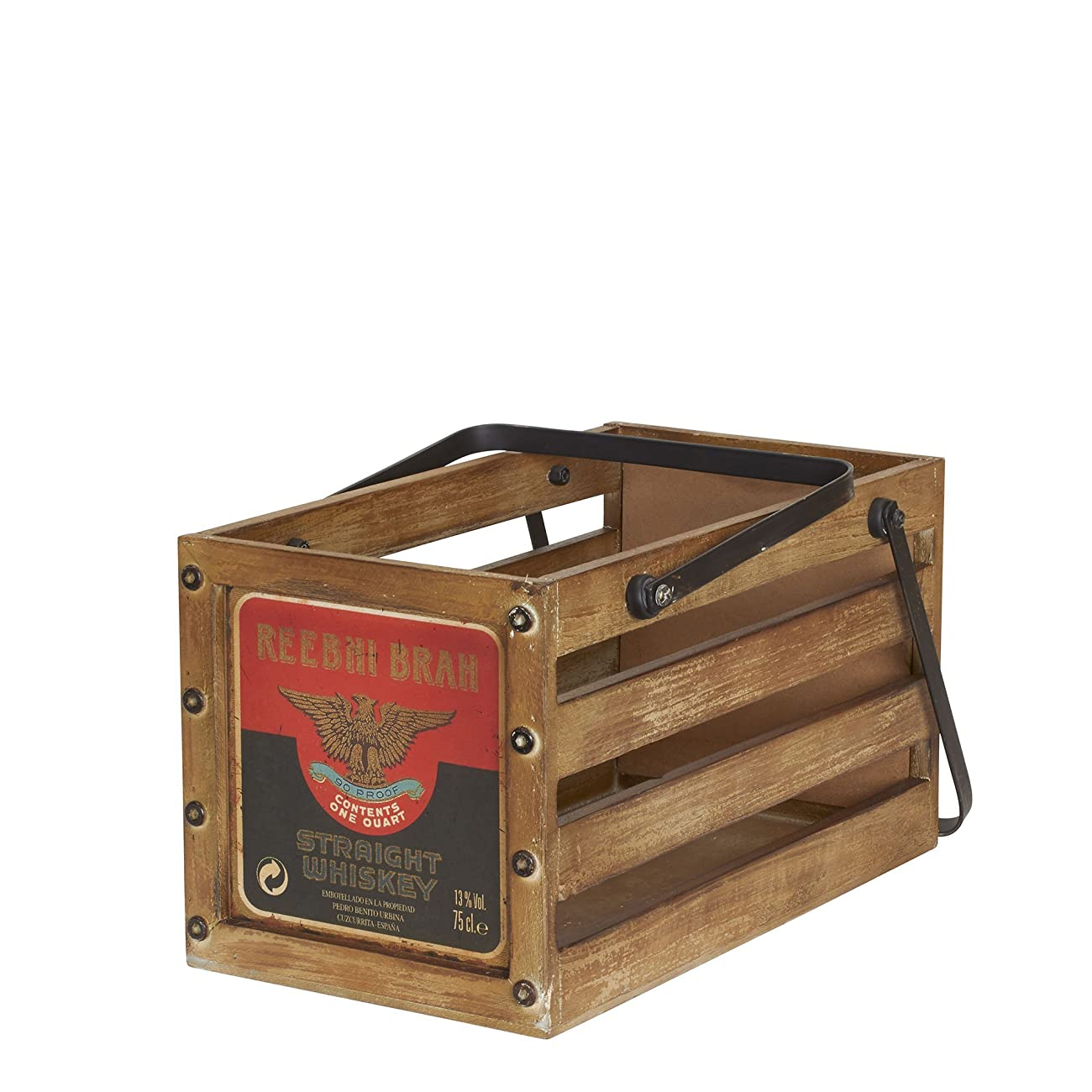 Household Essentials Whiskey Design Decorative Wood Crate for Storage, Small, Brown 1