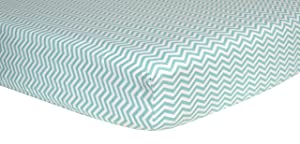 Trend Lab Print Flannel Crib Sheet, Mint Green and White Chevron