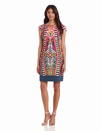 Adrianna Papell Women's Aztec Printed Shift Dress, Coral Multi, 10